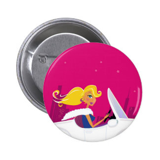 Designers button with Blond girl