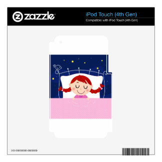 Designers edition with cute Sleeping girl Decal For iPod Touch 4G