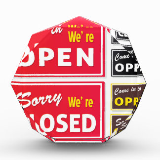 DESIGNERS EDITION WITH OPEN / CLOSED SIGNS ACRYLIC AWARD