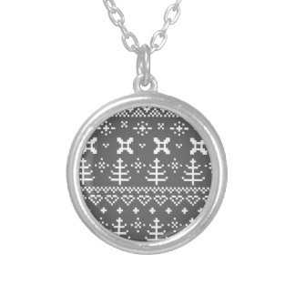Designers FOLK rounded Neck button Silver Plated Necklace