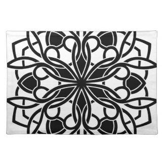 Designers luxury mandala : blackwhite cloth placemat