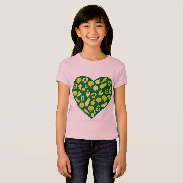 Designers pink t-shirt with Green bio heart