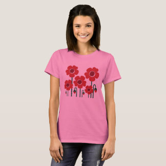 Designers t-shirt pink with RED POPPY