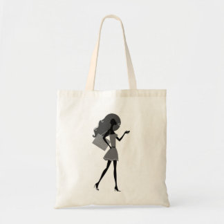 Designers tote bag with hand-drawn girl