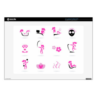 "DESIGNERS Wellness cute Icons / Pink on white Skin For 15"" Laptop"