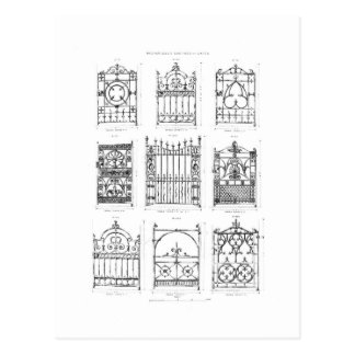 Designs for cast-iron gates, from 'Macfarlane's Ca Postcard