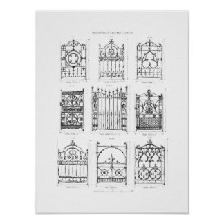 Designs for cast-iron gates, from 'Macfarlane's Ca Poster