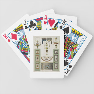 Designs for curtain cornices, girandoles and foldi bicycle playing cards