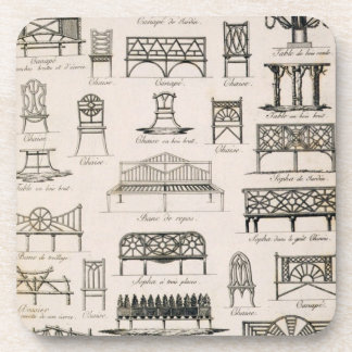 Designs for garden seats, from 'A Compendium of Dr Coaster