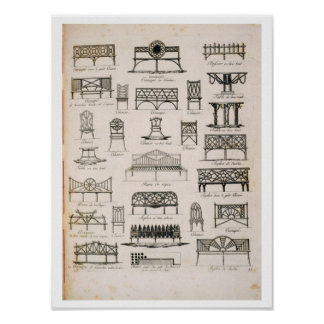 Designs for garden seats, from 'A Compendium of Dr Poster