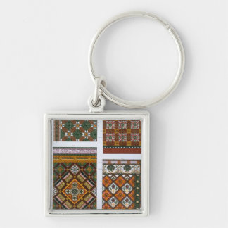 Designs for Majolica and Enamelled Tiles for Maw & Silver-Colored Square Keychain