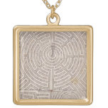 Designs for mazes, from 'The Dutch Gardener' by Jo Square Pendant Necklace