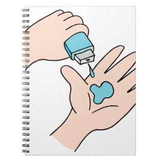 Desinfectante de la mano note book
