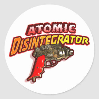 Desintegrador atómico etiqueta redonda