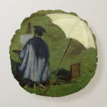 Desire Dubois Painting in the Open Air, c.1852 Round Pillow