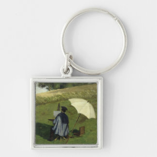 Desire Dubois Painting in the Open Air, c.1852 Silver-Colored Square Keychain
