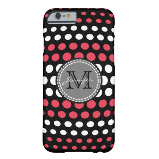 Desire & White Polka Dots Pattern Monogram Barely There iPhone 6 Case