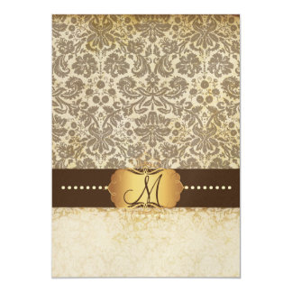 Desiree Damask/Vintage Lace Monogram 5x7 Paper Invitation Card