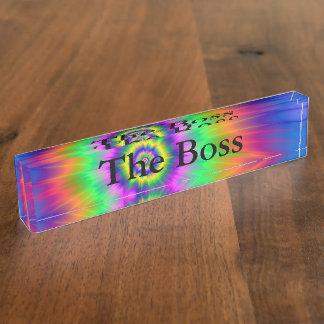 Desk Nameplate  Tie Dye Fireball