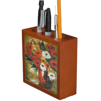 Desk Organiser Ann Hayes Painting Red Flower Mix