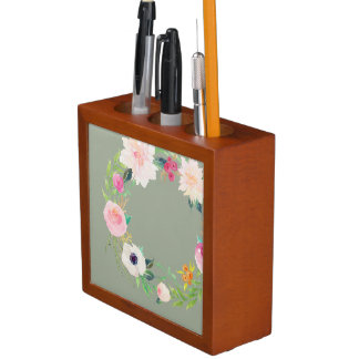 Desk Organizer, Watercolor Flower Wreath, Grey Pencil Holder