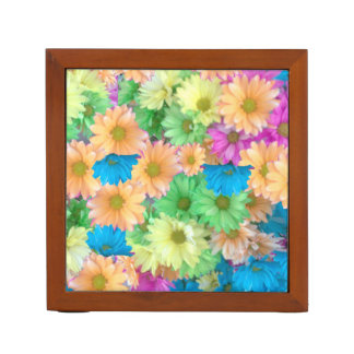 Desk organizer with Crazy Color Carnations
