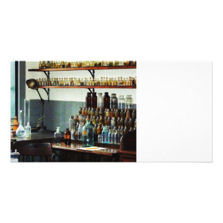 Desk With Bottles of Chemicals Customized Photo Card