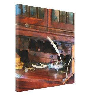 Desk With Quill and Books Canvas Print