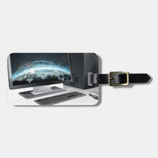 Desktop computer world globe bag tag
