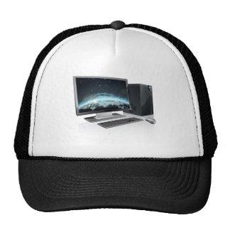 Desktop computer world globe hat