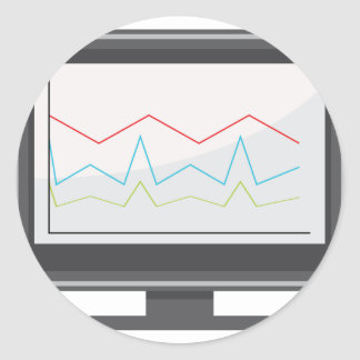Desktop Monitor Financial Report Icon Classic Round Sticker