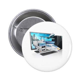 Desktop pc logistics concept pinback button