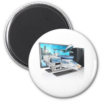 Desktop pc logistics concept fridge magnet