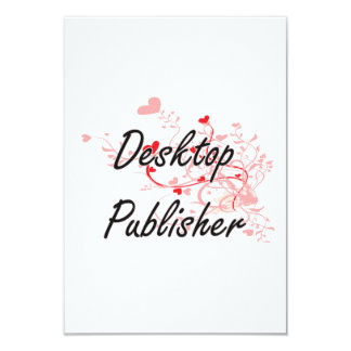 Desktop Publisher Artistic Job Design with Hearts 3.5x5 Paper Invitation Card