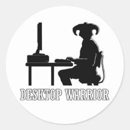 Desktop Warrior Classic Round Sticker