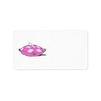 Deslizador de Cenicienta en arte rosado del vintag Etiqueta De Dirección