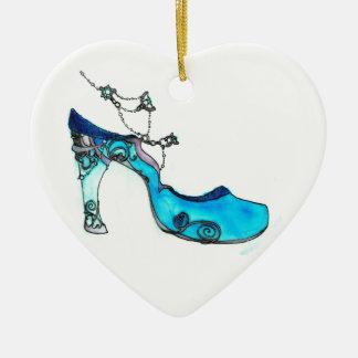 Deslizador de cristal adorno navideño de cerámica en forma de corazón
