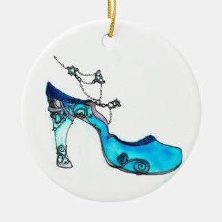 Deslizador de cristal adorno navideño redondo de cerámica