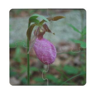 Deslizador de señoras rosadas posavasos de puzzle