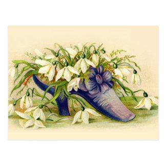 Deslizador del Victorian llenado de las flores bla Tarjetas Postales