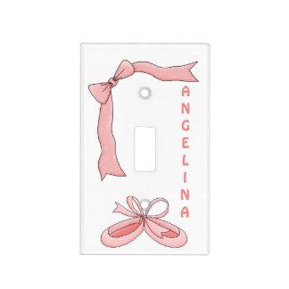 Deslizadores del ballet/cinta rosada+Nombre Tapa Para Interruptor