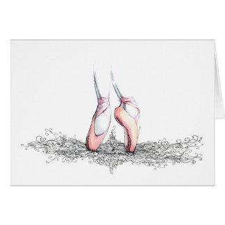 Deslizadores del ballet tarjeta de felicitación