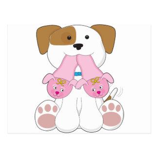 Deslizadores lindos del perrito tarjetas postales