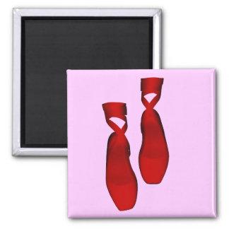 Deslizadores rojos de baile del ballet imán cuadrado