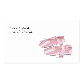 Deslizadores rosados de los zapatos de ballet tarjeta personal