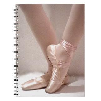 Deslizadores rosados del ballet cuaderno