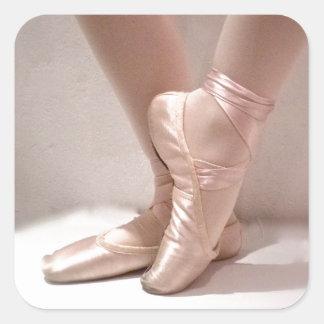 Deslizadores rosados del ballet pegatina cuadrada