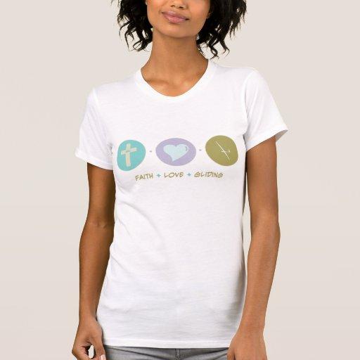 Deslizamiento del amor de la fe camiseta