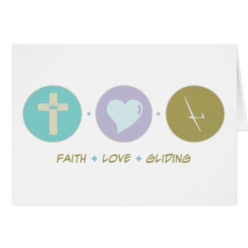 Deslizamiento del amor de la fe tarjeta de felicitación