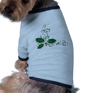 Deslumbramiento del acebo camiseta con mangas para perro